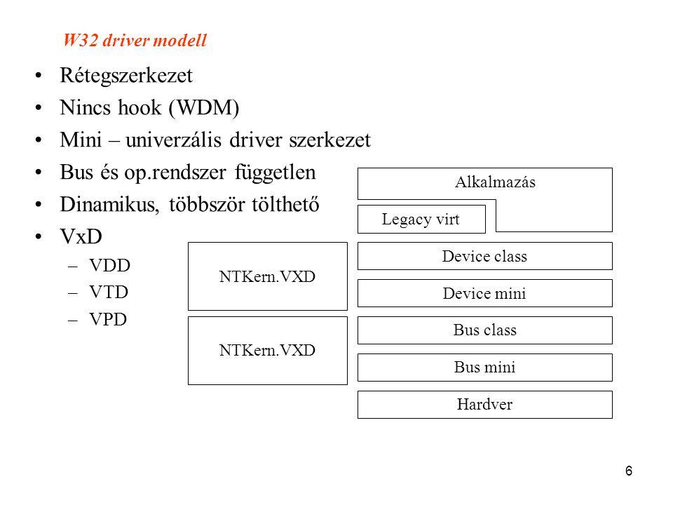 6 •Rétegszerkezet •Nincs hook (WDM) •Mini – univerzális driver szerkezet •Bus és op.rendszer független •Dinamikus, többször tölthető •VxD –VDD –VTD –V