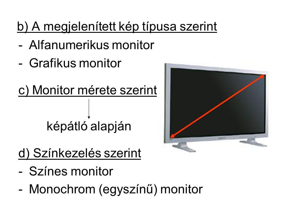 b) A megjelenített kép típusa szerint -Alfanumerikus monitor -Grafikus monitor c) Monitor mérete szerint képátló alapján d) Színkezelés szerint -Színes monitor -Monochrom (egyszínű) monitor