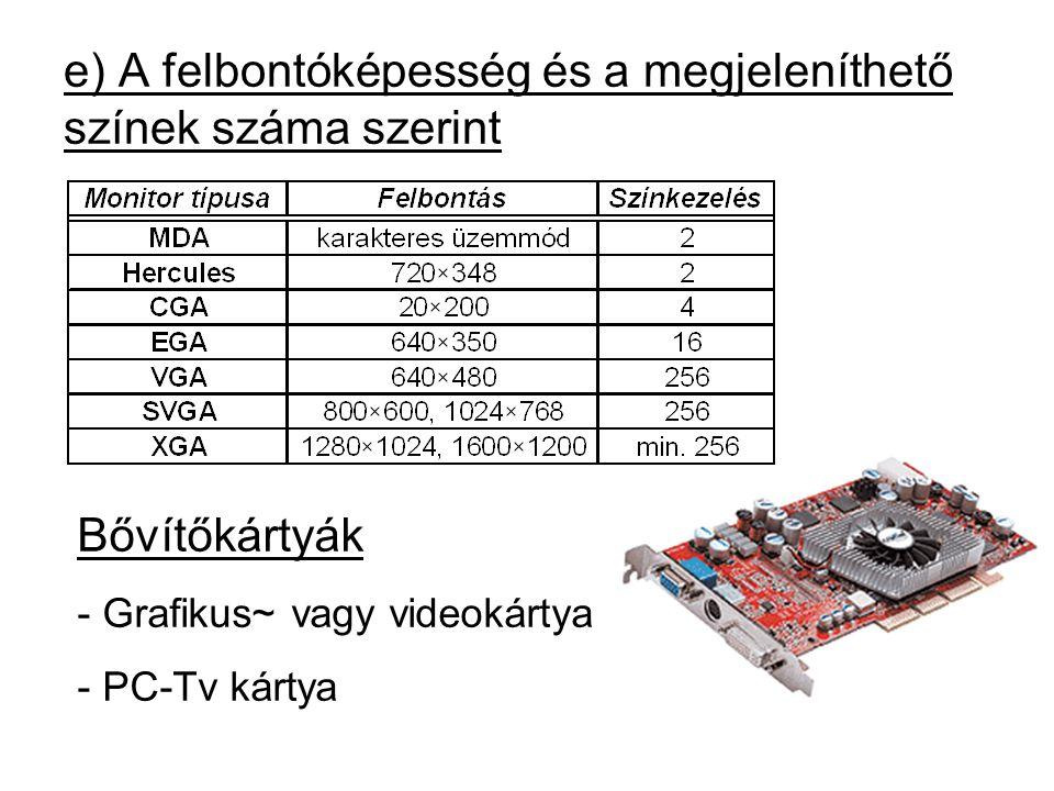 e) A felbontóképesség és a megjeleníthető színek száma szerint Bővítőkártyák - Grafikus~ vagy videokártya - PC-Tv kártya