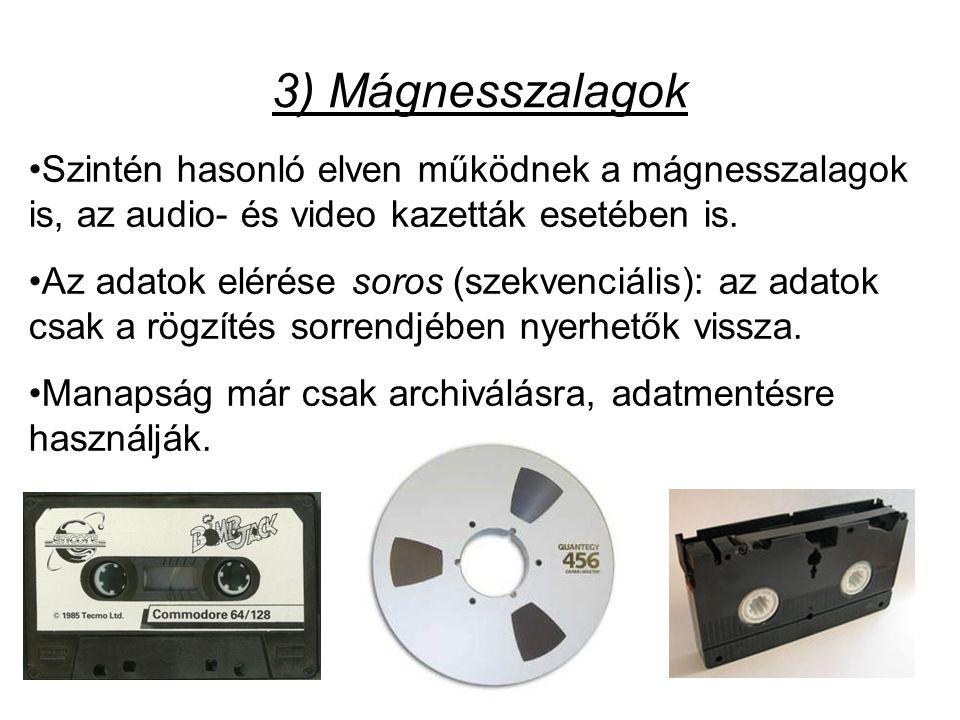 •Szintén hasonló elven működnek a mágnesszalagok is, az audio- és video kazetták esetében is.