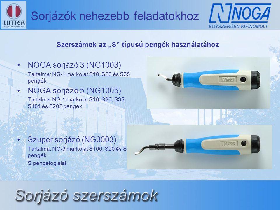 """•NOGA sorjázó 3 (NG1003) Tartalma: NG-1 markolat S10, S20 és S35 pengék •NOGA sorjázó 5 (NG1005) Tartalma: NG-1 markolat S10, S20, S35, S101 és S202 pengék •Szuper sorjázó (NG3003) Tartalma: NG-3 markolat S100, S20 és S30 pengék S pengefoglalat Szerszámok az """"S típusú pengék használatához"""