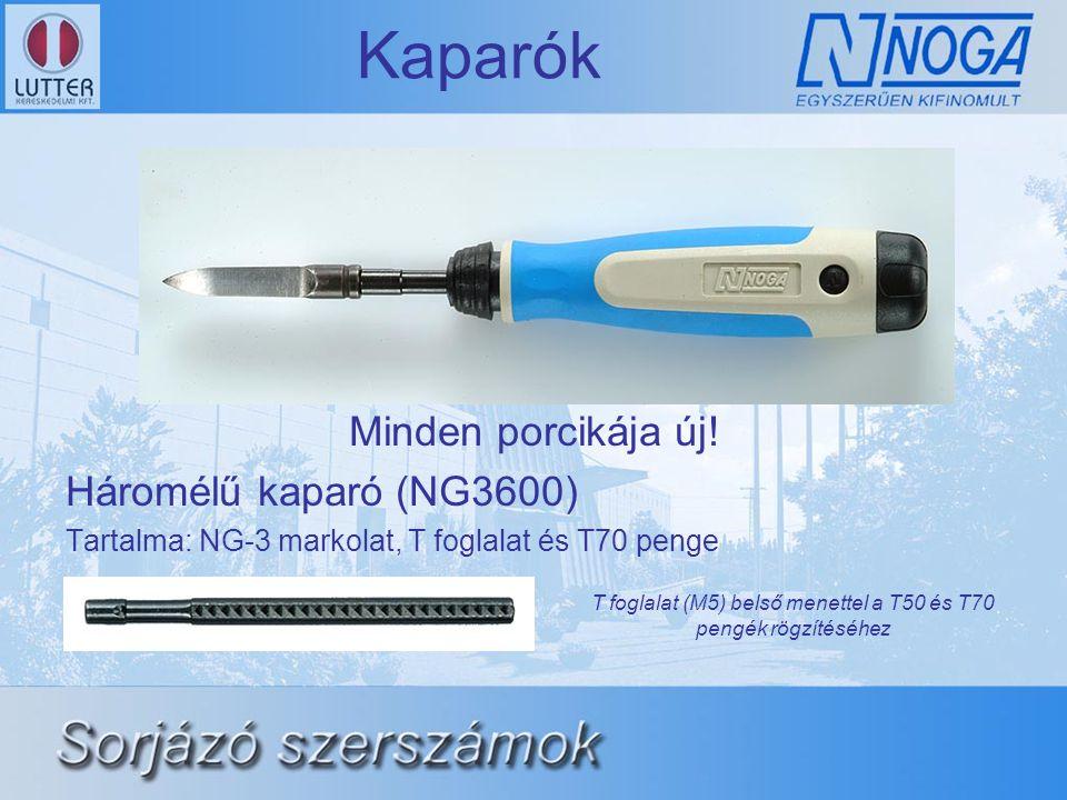 Kaparók Minden porcikája új! Háromélű kaparó (NG3600) Tartalma: NG-3 markolat, T foglalat és T70 penge T foglalat (M5) belső menettel a T50 és T70 pen
