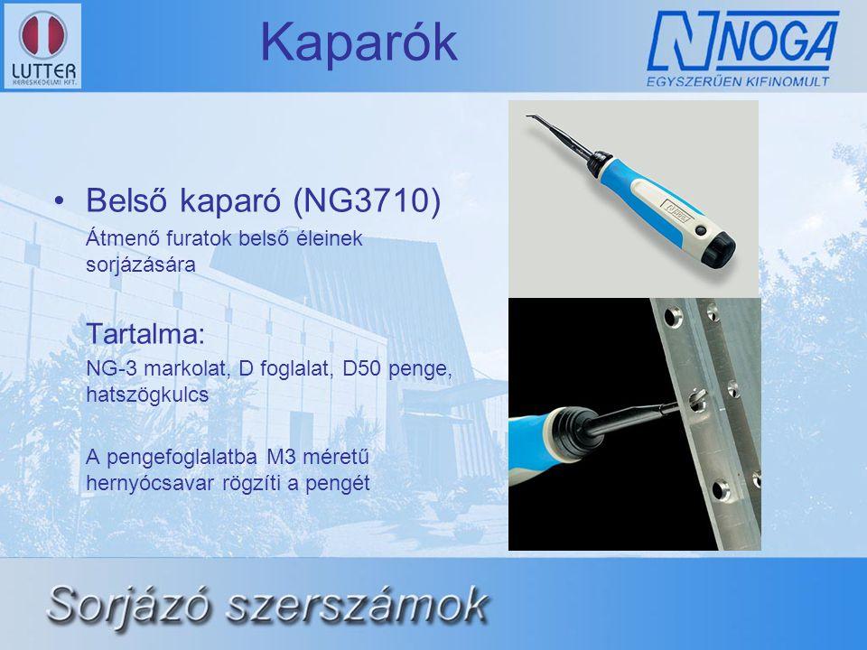 Kaparók •Belső kaparó (NG3710) Átmenő furatok belső éleinek sorjázására Tartalma: NG-3 markolat, D foglalat, D50 penge, hatszögkulcs A pengefoglalatba