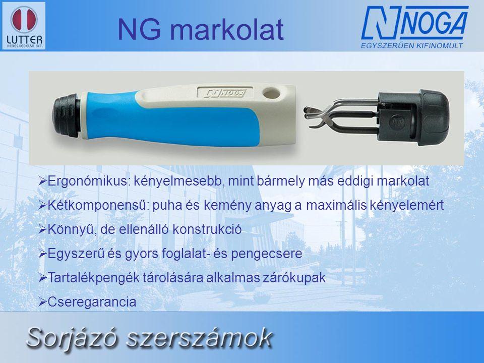 NG markolat  Ergonómikus: kényelmesebb, mint bármely más eddigi markolat  Kétkomponensű: puha és kemény anyag a maximális kényelemért  Könnyű, de e