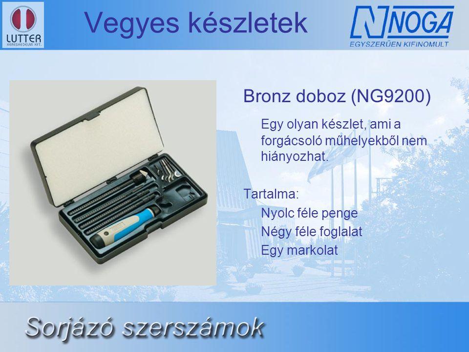 Vegyes készletek Bronz doboz (NG9200) Egy olyan készlet, ami a forgácsoló műhelyekből nem hiányozhat. Tartalma: Nyolc féle penge Négy féle foglalat Eg