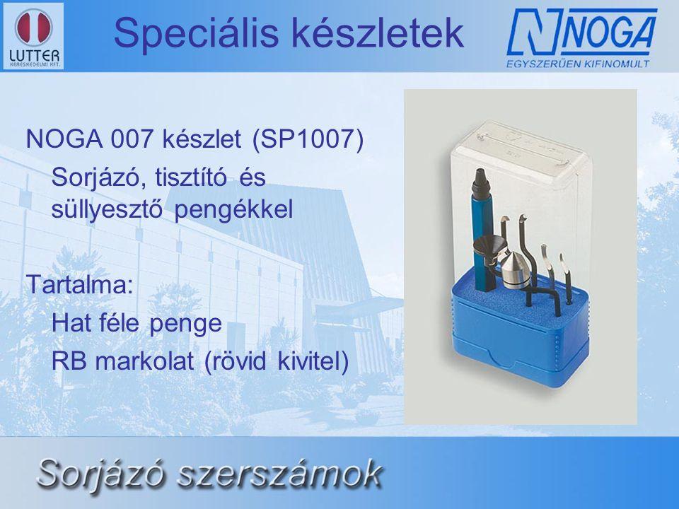 Speciális készletek NOGA 007 készlet (SP1007) Sorjázó, tisztító és süllyesztő pengékkel Tartalma: Hat féle penge RB markolat (rövid kivitel)