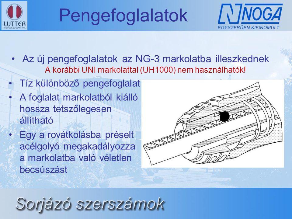Pengefoglalatok •Az új pengefoglalatok az NG-3 markolatba illeszkednek A korábbi UNI markolattal (UH1000) nem használhatók! •Tíz különböző pengefoglal