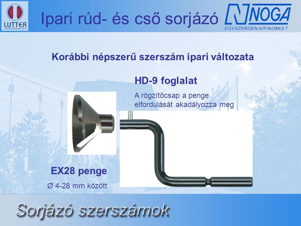 Ipari rúd- és cső sorjázó EX28 penge Ø 4-28 mm között HD-9 foglalat A rögzítőcsap a penge elfordulását akadályozza meg Korábbi népszerű szerszám ipari változata
