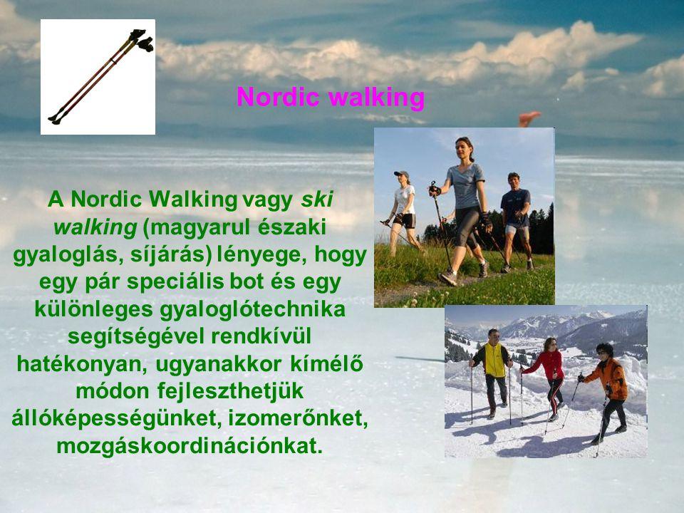 Nordic walking A Nordic Walking vagy ski walking (magyarul északi gyaloglás, síjárás) lényege, hogy egy pár speciális bot és egy különleges gyaloglótechnika segítségével rendkívül hatékonyan, ugyanakkor kímélő módon fejleszthetjük állóképességünket, izomerőnket, mozgáskoordinációnkat.