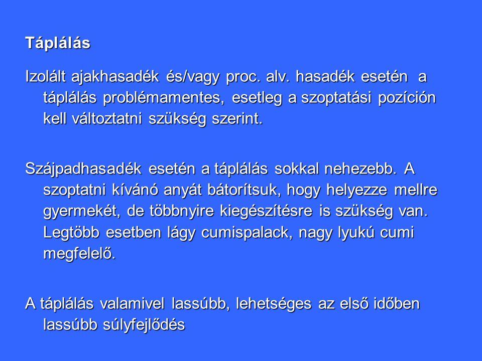Táplálás Izolált ajakhasadék és/vagy proc.alv.