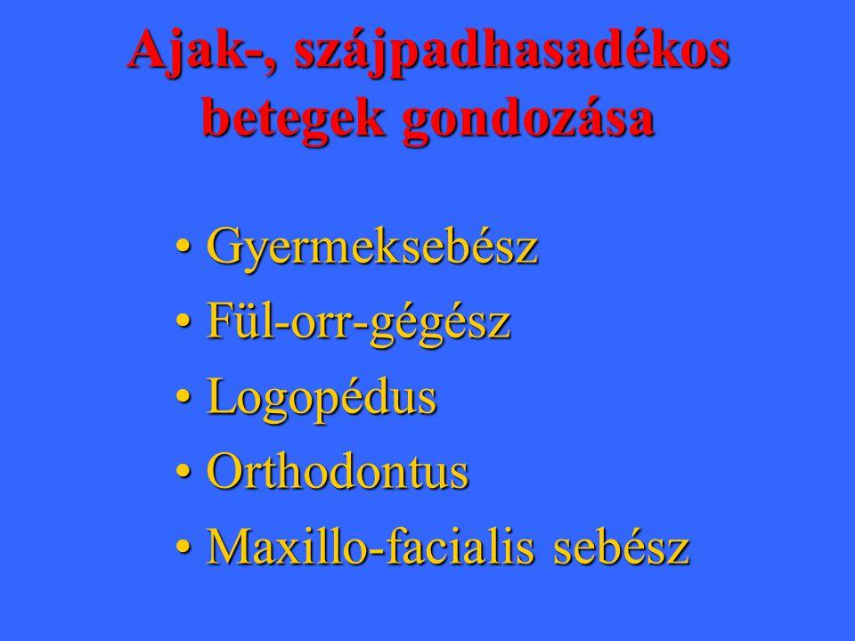 Ajak-, szájpadhasadékos betegek gondozása •Gyermeksebész •Fül-orr-gégész •Logopédus •Orthodontus •Maxillo-facialis sebész