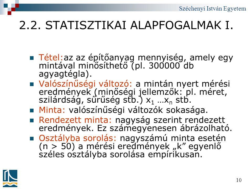 Széchenyi István Egyetem 10 2.2. STATISZTIKAI ALAPFOGALMAK I.  Tétel:az az építőanyag mennyiség, amely egy mintával minősíthető (pl. 300000 db agyagt