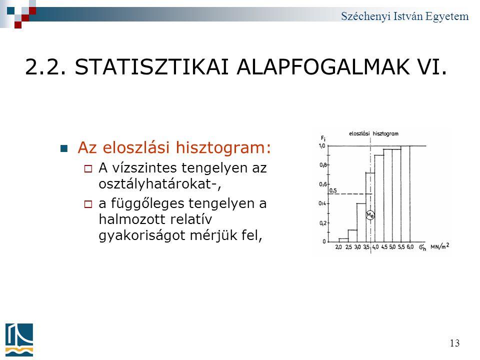 Széchenyi István Egyetem 13 2.2. STATISZTIKAI ALAPFOGALMAK VI.  Az eloszlási hisztogram:  A vízszintes tengelyen az osztályhatárokat-,  a függőlege