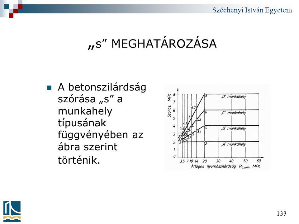 """Széchenyi István Egyetem 133 """" s"""" MEGHATÁROZÁSA  A betonszilárdság szórása """"s"""" a munkahely típusának függvényében az ábra szerint történik."""