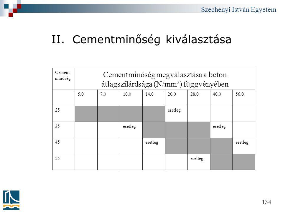 Széchenyi István Egyetem 134 II. Cementminőség kiválasztása Cement minőség Cementminőség megválasztása a beton átlagszilárdsága (N/mm 2 ) függvényében