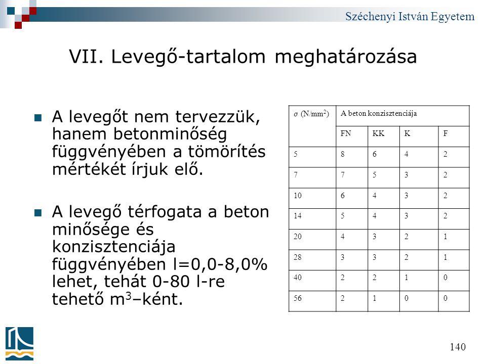 Széchenyi István Egyetem 140 VII. Levegő-tartalom meghatározása  A levegőt nem tervezzük, hanem betonminőség függvényében a tömörítés mértékét írjuk