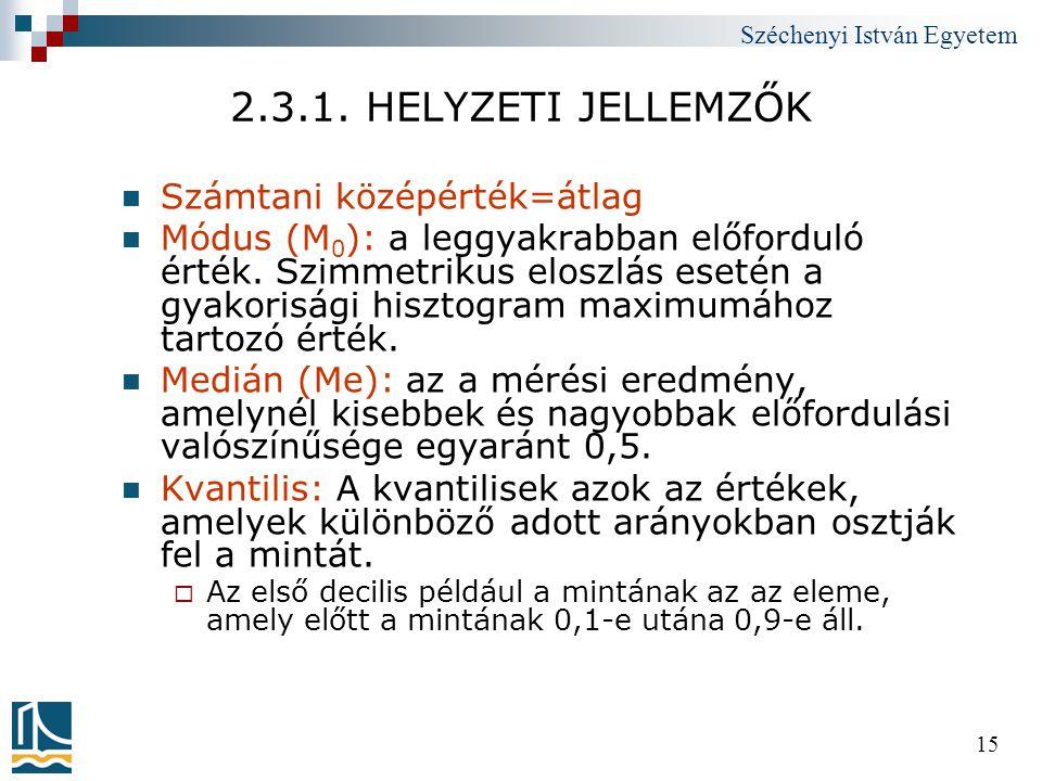 Széchenyi István Egyetem 15 2.3.1. HELYZETI JELLEMZŐK  Számtani középérték=átlag  Módus (M 0 ): a leggyakrabban előforduló érték. Szimmetrikus elosz