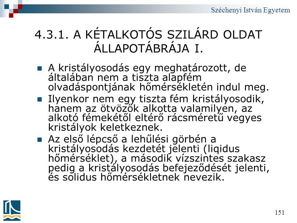 Széchenyi István Egyetem 151 4.3.1. A KÉTALKOTÓS SZILÁRD OLDAT ÁLLAPOTÁBRÁJA I.  A kristályosodás egy meghatározott, de általában nem a tiszta alapfé