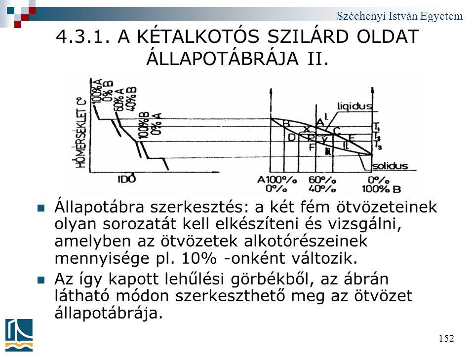 Széchenyi István Egyetem 152 4.3.1. A KÉTALKOTÓS SZILÁRD OLDAT ÁLLAPOTÁBRÁJA II.  Állapotábra szerkesztés: a két fém ötvözeteinek olyan sorozatát kel