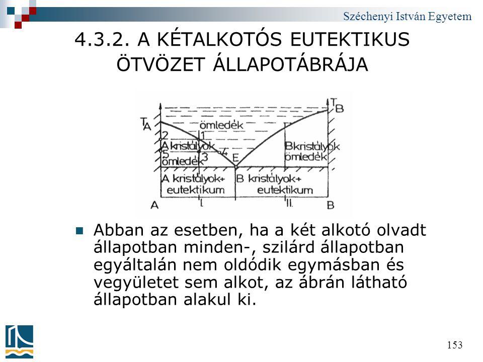 Széchenyi István Egyetem 153 4.3.2. A KÉTALKOTÓS EUTEKTIKUS ÖTVÖZET ÁLLAPOTÁBRÁJA  Abban az esetben, ha a két alkotó olvadt állapotban minden-, szilá