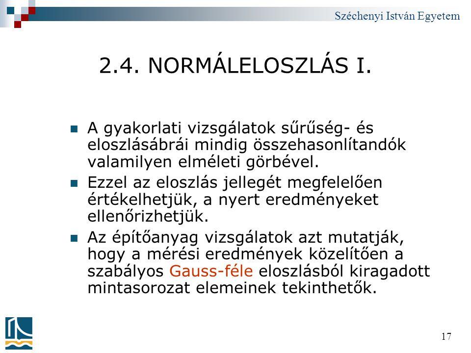 Széchenyi István Egyetem 17 2.4. NORMÁLELOSZLÁS I.  A gyakorlati vizsgálatok sűrűség- és eloszlásábrái mindig összehasonlítandók valamilyen elméleti