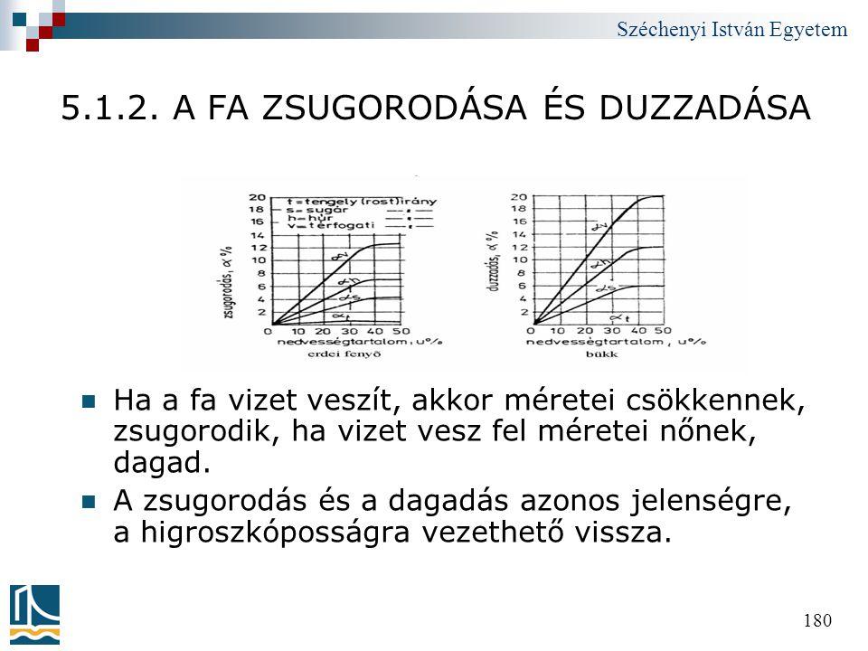 Széchenyi István Egyetem 180 5.1.2. A FA ZSUGORODÁSA ÉS DUZZADÁSA  Ha a fa vizet veszít, akkor méretei csökkennek, zsugorodik, ha vizet vesz fel mére
