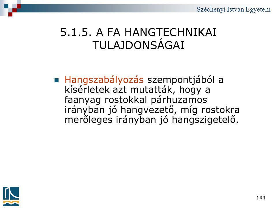 Széchenyi István Egyetem 183 5.1.5. A FA HANGTECHNIKAI TULAJDONSÁGAI  Hangszabályozás szempontjából a kísérletek azt mutatták, hogy a faanyag rostokk