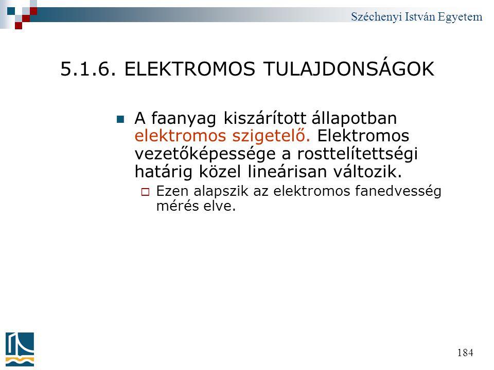 Széchenyi István Egyetem 184 5.1.6. ELEKTROMOS TULAJDONSÁGOK  A faanyag kiszárított állapotban elektromos szigetelő. Elektromos vezetőképessége a ros
