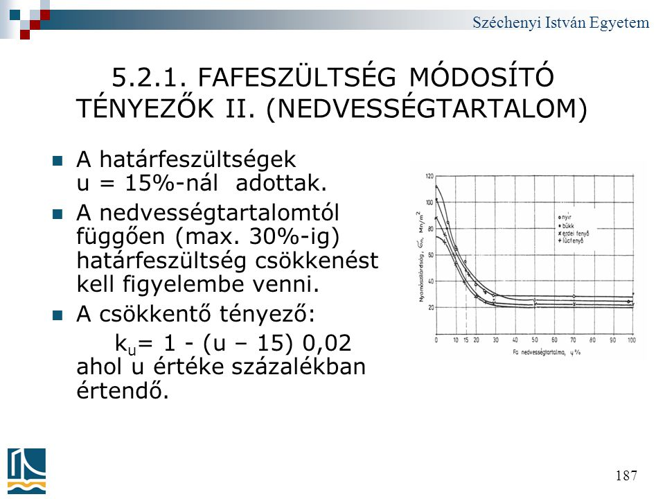 Széchenyi István Egyetem 187 5.2.1. FAFESZÜLTSÉG MÓDOSÍTÓ TÉNYEZŐK II. (NEDVESSÉGTARTALOM)  A határfeszültségek u = 15%-nál adottak.  A nedvességtar
