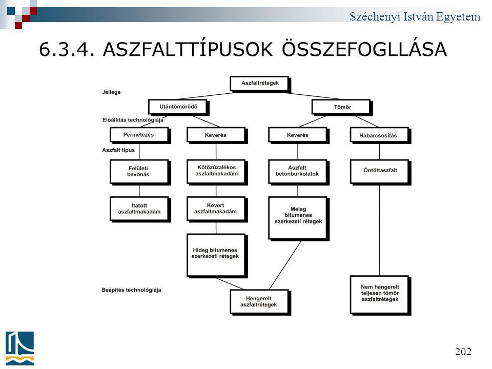 Széchenyi István Egyetem 202 6.3.4. ASZFALTTÍPUSOK ÖSSZEFOGLLÁSA