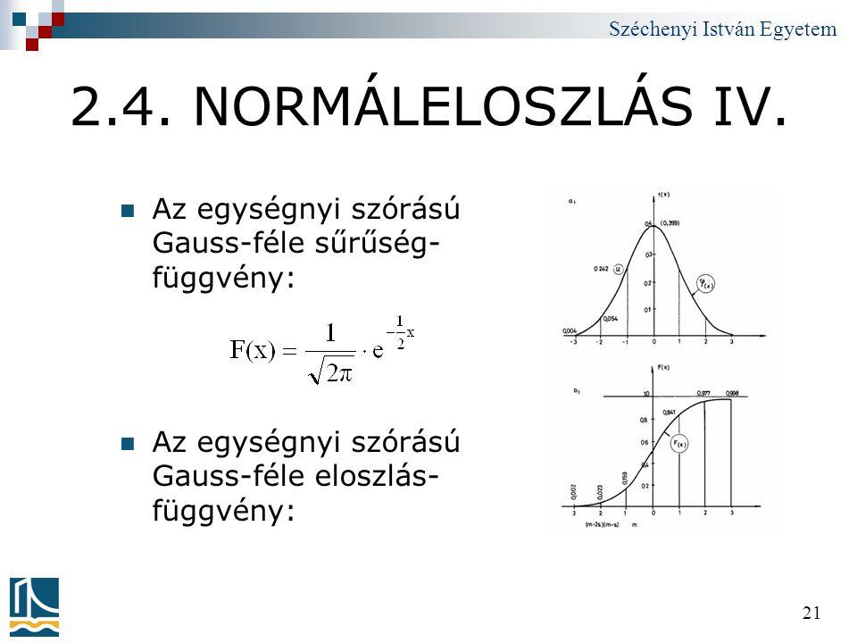 Széchenyi István Egyetem 21 2.4. NORMÁLELOSZLÁS IV.  Az egységnyi szórású Gauss-féle sűrűség- függvény:  Az egységnyi szórású Gauss-féle eloszlás- f