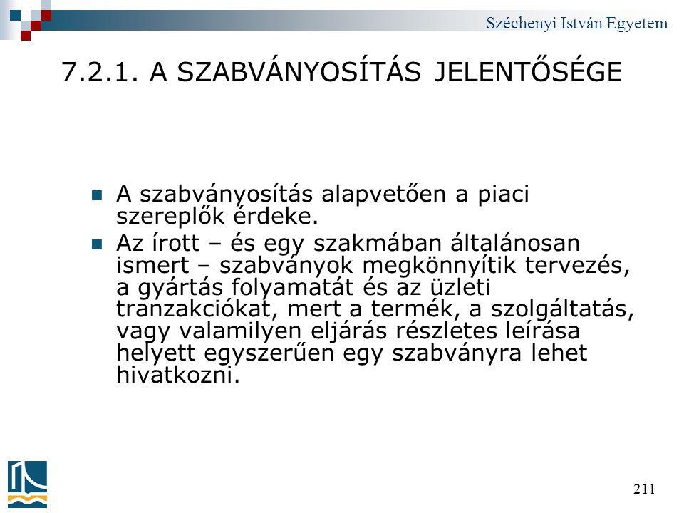 Széchenyi István Egyetem 211 7.2.1. A SZABVÁNYOSÍTÁS JELENTŐSÉGE  A szabványosítás alapvetően a piaci szereplők érdeke.  Az írott – és egy szakmában