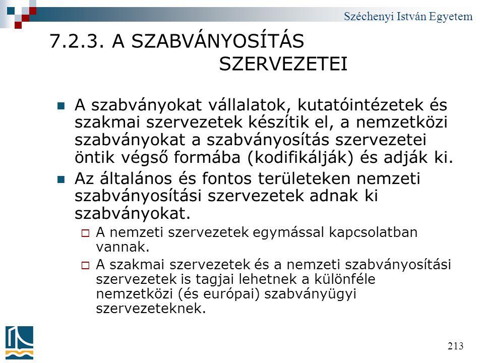Széchenyi István Egyetem 213 7.2.3. A SZABVÁNYOSÍTÁS SZERVEZETEI  A szabványokat vállalatok, kutatóintézetek és szakmai szervezetek készítik el, a ne