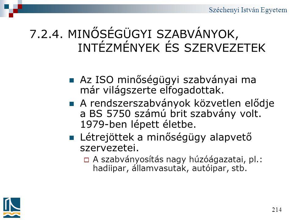 Széchenyi István Egyetem 214 7.2.4. MINŐSÉGÜGYI SZABVÁNYOK, INTÉZMÉNYEK ÉS SZERVEZETEK  Az ISO minőségügyi szabványai ma már világszerte elfogadottak