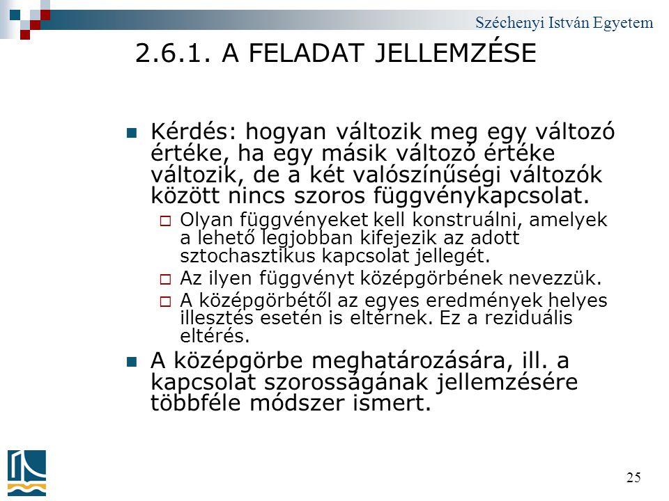 Széchenyi István Egyetem 25 2.6.1. A FELADAT JELLEMZÉSE  Kérdés: hogyan változik meg egy változó értéke, ha egy másik változó értéke változik, de a k