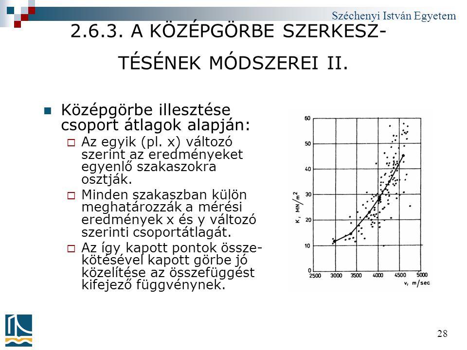 Széchenyi István Egyetem 28 2.6.3. A KÖZÉPGÖRBE SZERKESZ- TÉSÉNEK MÓDSZEREI II.  Középgörbe illesztése csoport átlagok alapján:  Az egyik (pl. x) vá