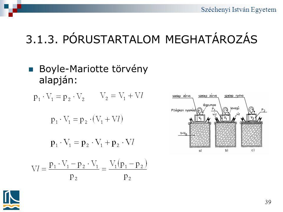 Széchenyi István Egyetem 39 3.1.3. PÓRUSTARTALOM MEGHATÁROZÁS  Boyle-Mariotte törvény alapján: