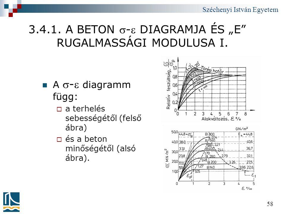 """Széchenyi István Egyetem 58 3.4.1. A BETON - DIAGRAMJA ÉS """"E"""" RUGALMASSÁGI MODULUSA I.  A - diagramm függ:  a terhelés sebességétől (felső ábra)"""