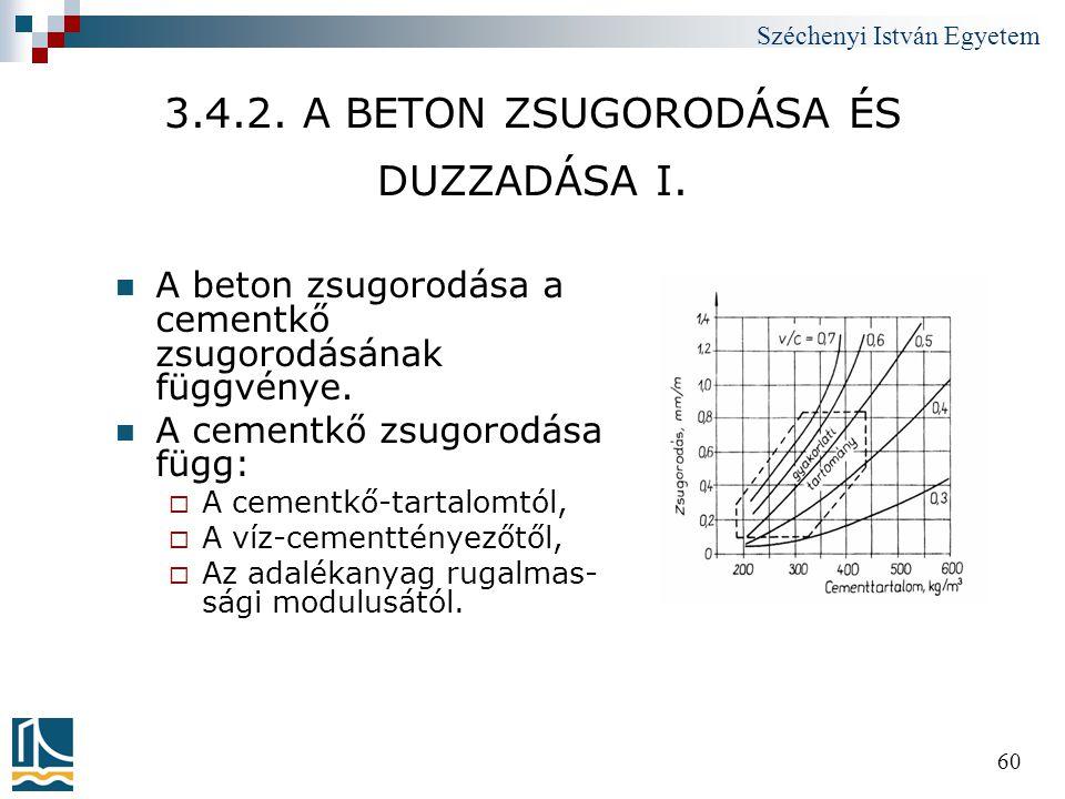 Széchenyi István Egyetem 60 3.4.2. A BETON ZSUGORODÁSA ÉS DUZZADÁSA I.  A beton zsugorodása a cementkő zsugorodásának függvénye.  A cementkő zsugoro