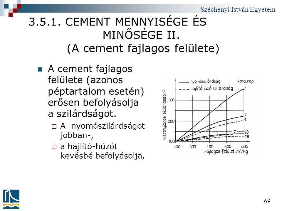 Széchenyi István Egyetem 69 3.5.1. CEMENT MENNYISÉGE ÉS MINŐSÉGE II. (A cement fajlagos felülete)  A cement fajlagos felülete (azonos péptartalom ese