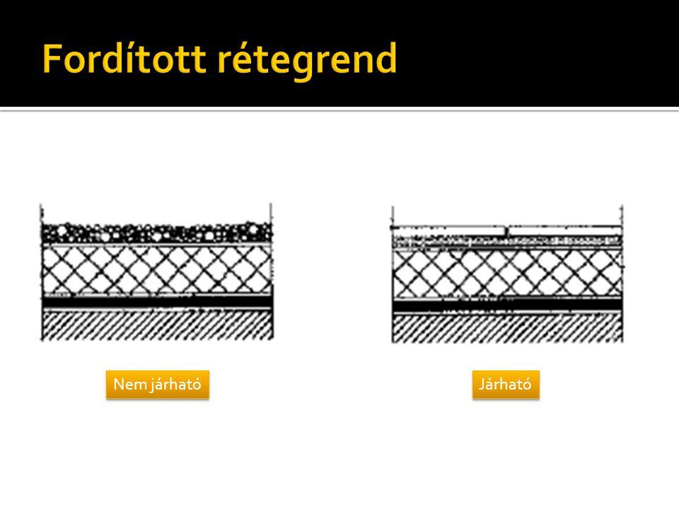  Funkció:  Belső terek hőveszteség-csökkentése  Hőmérséklet-ingadozás csökkentése a lapostető szerkezeteiben, az ebből eredő feszülstégek és alakváltozások csökkentése  Tűzvédelmi szempontból megfelelő hőszigetelés  Átázott, vizes hőszigetelés beépítése kerülendő  Típusok:  Egyenes rétegrendű tetők hőszigetelése  Fordított rétegrendű tetők hőszigetelése