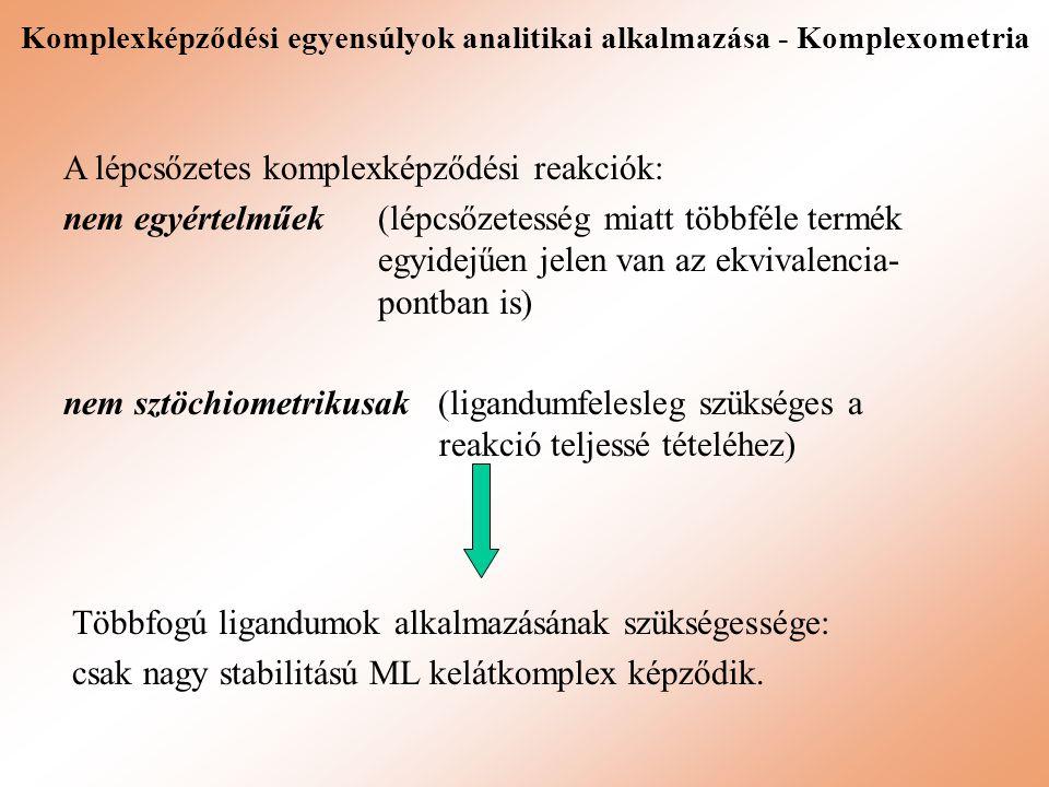 A lépcsőzetes komplexképződési reakciók: nem egyértelműek (lépcsőzetesség miatt többféle termék egyidejűen jelen van az ekvivalencia- pontban is) nem