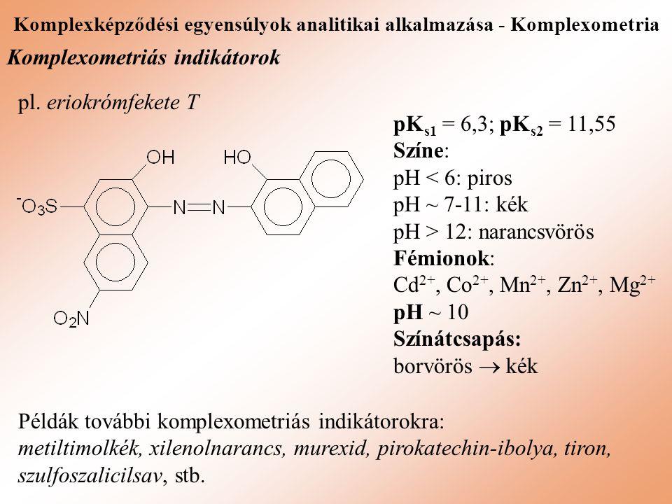 Komplexképződési egyensúlyok analitikai alkalmazása - Komplexometria Komplexometriás indikátorok pl. eriokrómfekete T Példák további komplexometriás i