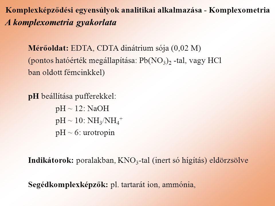 Komplexképződési egyensúlyok analitikai alkalmazása - Komplexometria A komplexometria gyakorlata Mérőoldat: EDTA, CDTA dinátrium sója (0,02 M) (pontos