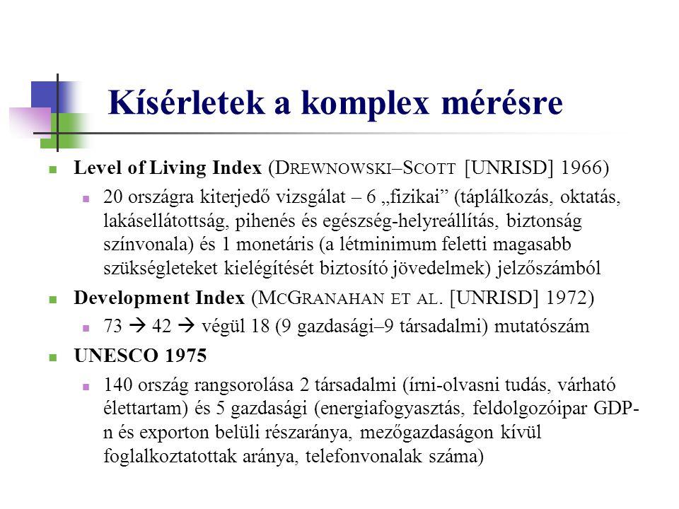  Physical Quality of Life Index (M ORRIS 1979)  Minimális emberi szükségletekhez való hozzáférés  Gyermekhalandóság, 1 éves korban várható élettartam, írni-olvasni tudás (részletek V AN DER L IJN 2005, G ARÅSEN 2006, S HAKYA 2008)  Fixált értékhez viszonyítás, majd számtani átlag számítása (kritikák)  Human Development Index (UNDP 1990)  3 dimenzió: élettartam, iskolázottság, életszínvonal  Több módosítás 1990 óta + kritikák.