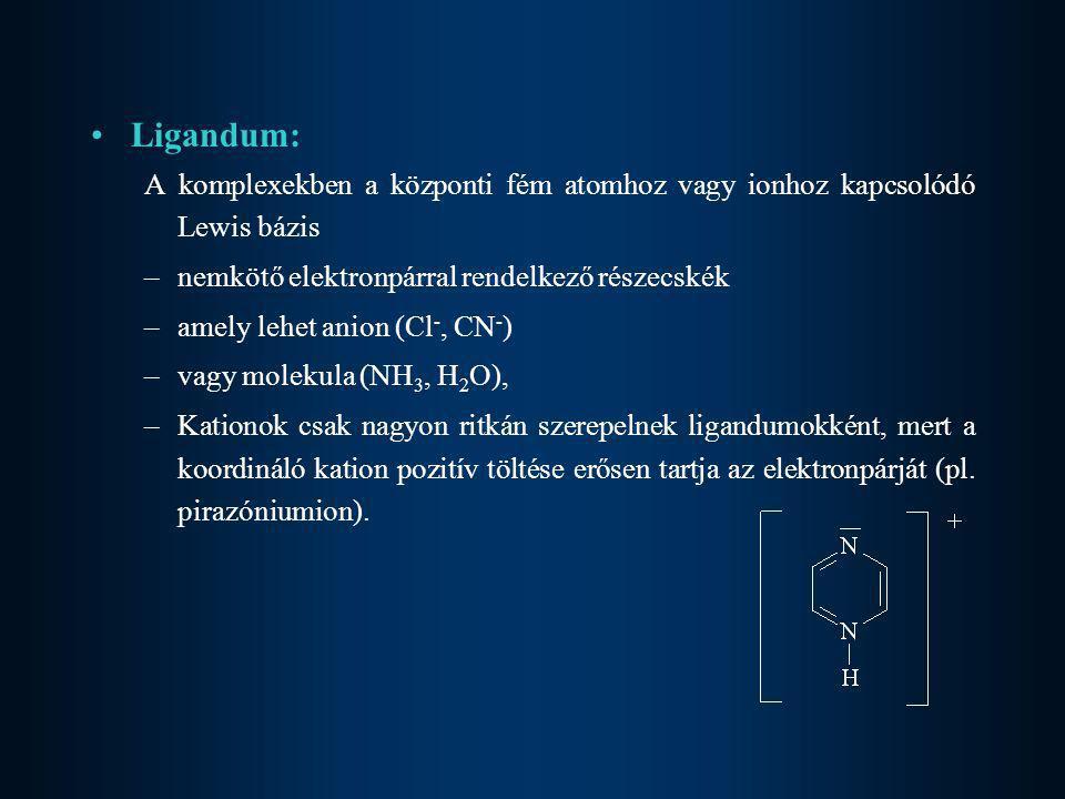 •Ligandum: A komplexekben a központi fém atomhoz vagy ionhoz kapcsolódó Lewis bázis –nemkötő elektronpárral rendelkező részecskék –amely lehet anion (