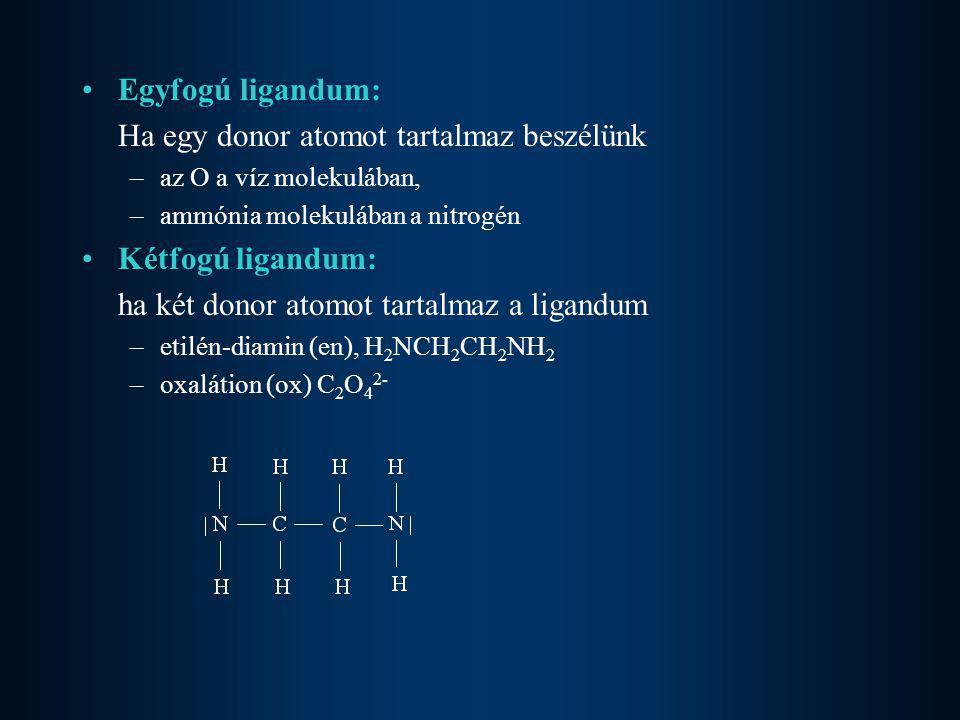 •Egyfogú ligandum: Ha egy donor atomot tartalmaz beszélünk –az O a víz molekulában, –ammónia molekulában a nitrogén •Kétfogú ligandum: ha két donor at