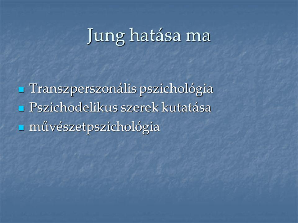 Jung hatása ma  Transzperszonális pszichológia  Pszichodelikus szerek kutatása  művészetpszichológia