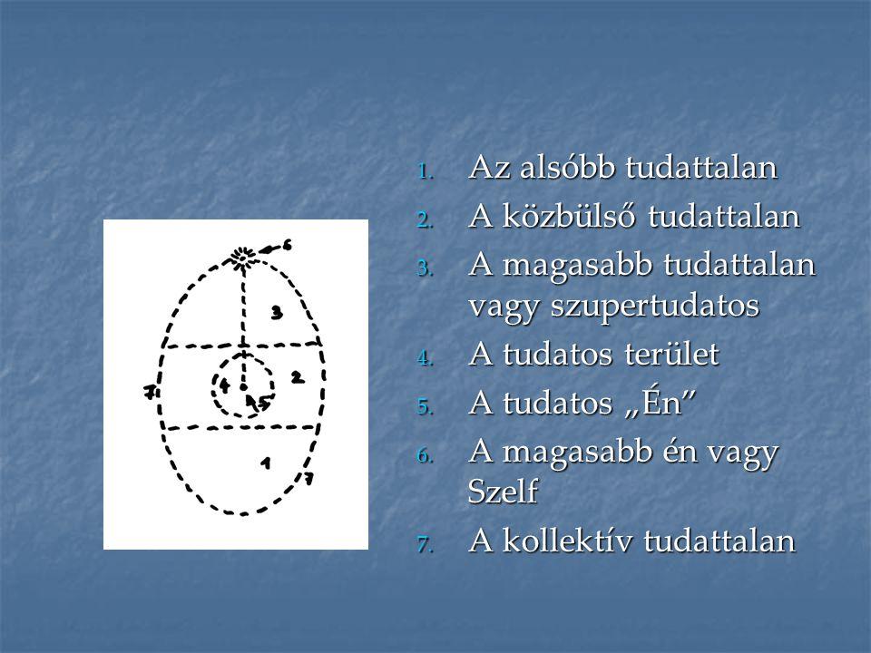 """1. Az alsóbb tudattalan 2. A közbülső tudattalan 3. A magasabb tudattalan vagy szupertudatos 4. A tudatos terület 5. A tudatos """"Én"""" 6. A magasabb én v"""