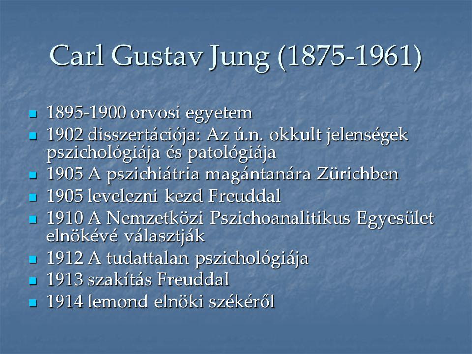Carl Gustav Jung (1875-1961)  1895-1900 orvosi egyetem  1902 disszertációja: Az ú.n. okkult jelenségek pszichológiája és patológiája  1905 A pszich